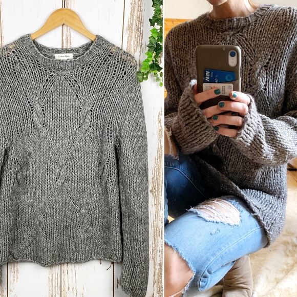 10c566d0849 VNTG Calvin Klein Chunky Alpaca Cable Knit Sweater